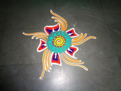 How to make easy fancy rangoli design