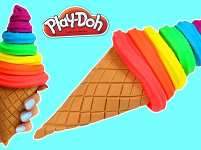 How to Make RAINBOW Play Doh Soft Serve Ice Cream Cone Fun & Easy DIY Play Dough Dessert!