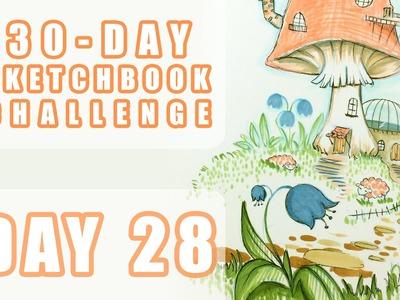 Mushroom Village (How I really sketch p2) - Sketchbook Challenge Day 28