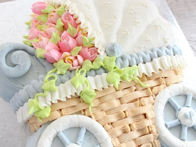 Russian Flower Piping Tips on a Buttercream Cake - How to decorate a stroller cake