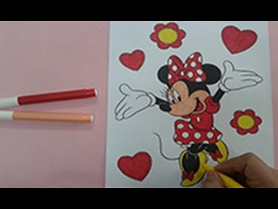 Arts for kids : How to colour minnie mouse , disney colouring pages , painting for kids