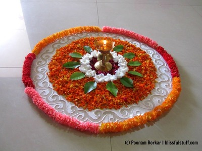 Easy and simple rangoli using flowers | Creative rangoli designs by Poonam Borkar