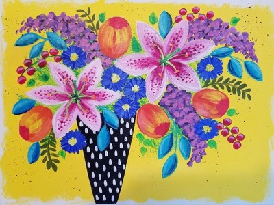 Easy Floral Acrylic Bohemian Vase Painting | How to Paint Lilies, Lilacs & Tulips