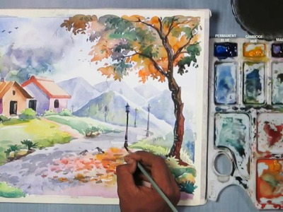 How to Paint A beautiful Scenery in Watercolor | step by step