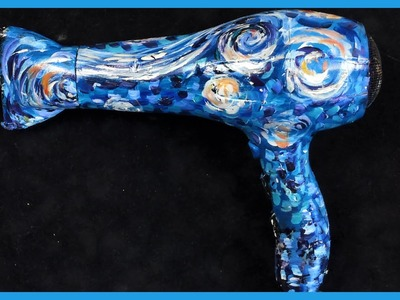 How to paint Starry Night  On  A Hair dryer with Acrylic Paint by Ginger Cook