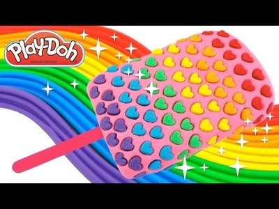 Play-Doh How to Make a Giant Rainbow Heart Glitter Popsicle * Creative For Kids * RainbowLearning