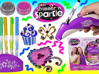 Cra-Z-Art Shimmer n' Sparkle Airbrush Tattoo Designer! DIY Glittery Body Bling! Lip Balm FUN