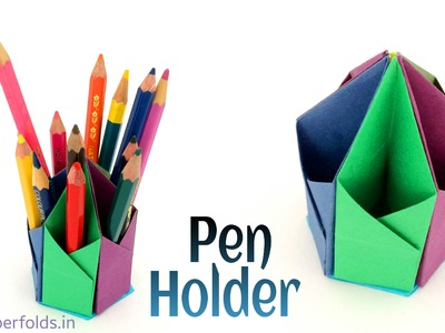 "Origami. Craft tutorial to make a Paper ""Hexagonal Pen. Pencil Holder"""