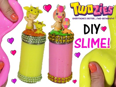 DIY TWOZIES SLIME! Make Your Own Stretchy Squishy Hot Pink & Yellow Putty! Decorate Cute JAR!
