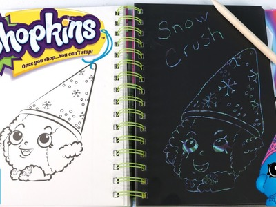 Shopkins Sketch Surprise Book Snow Crush Scratch Art DIY Arts & Crafts | PSToyReviews