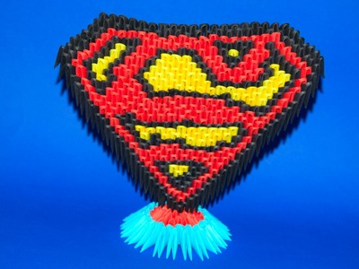 3D origami Stand for Superman Logo of paper tutorial