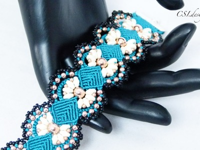 Daisy micro macrame bracelet