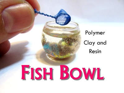 Fish Bowl from Polymer Clay and Resin Dollhouse Miniature