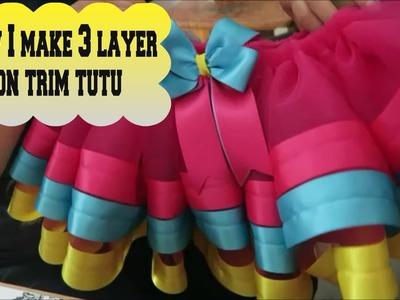 How I make 3 layer ribbon trim tutu - April 2 2016 (day 323)