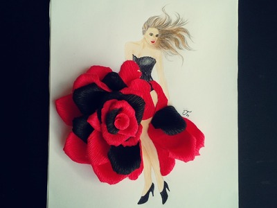 Art flower | Rose girl with crepe paper - Craft Tutorial