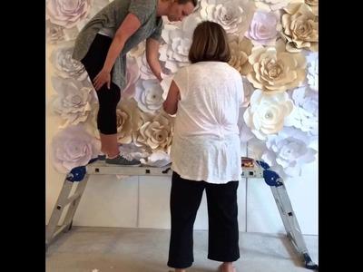 Paper Flower Wall Construction