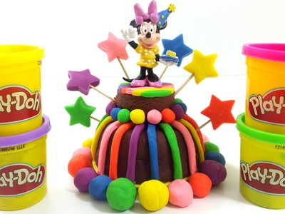 How To Make Play-Doh Birthday  Rainbow Chocolate Cake Creative DIY For Kids with Minnie Mouse