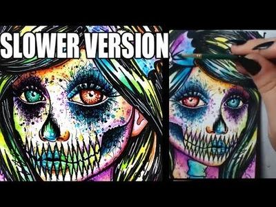 SLOWER VERSION - Rainbow Skull Girl Mixed Media Piece