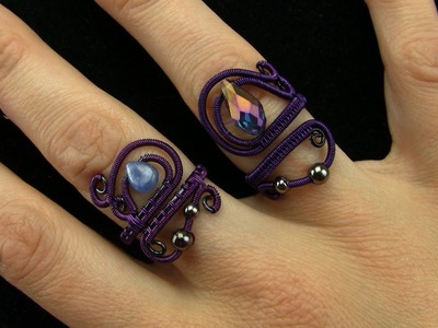 Tutorial: Mystical Sorceress Wire Wrapped Ring Black.Purple Adjustable