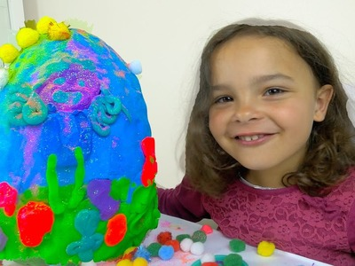 DIY Play Doh Surprise egg from dough, glitter and pompoms