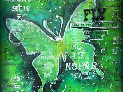 Butterfly Art Journaling page- for Artists Live Ustream Channel