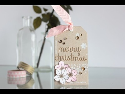 Christmas tag pink and gold