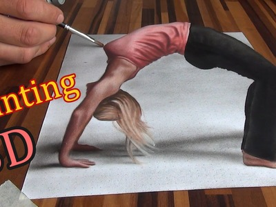 Drawing of an anamorphic illusion. 3D painting