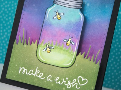Interactive fireflies card that lights up with Chibitronics and Lawn Fawn