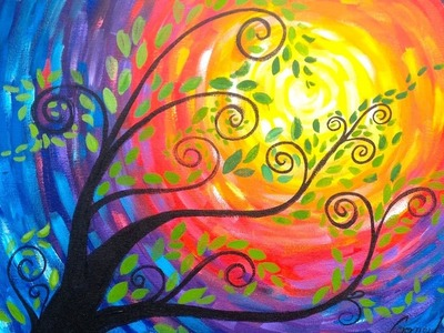 Whimsical Tree Beginner Acrylic Painting