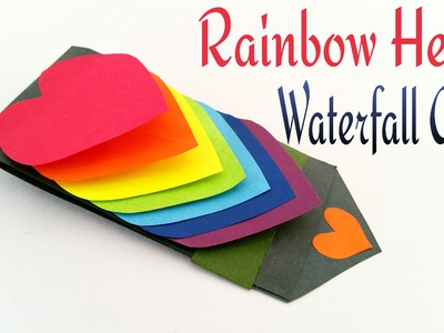 "Craft Tutorial to make Paper ""Rainbow Heart waterfall card""  Greetings 