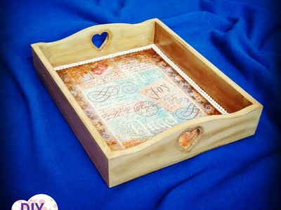 Decoupage tray with rice paper DIY shabby chic ideas decorations craft tutorial
