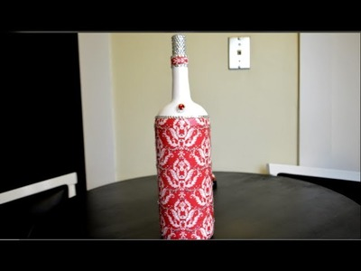 DIY Decoupage Wine Bottle With Rhinestones {4 of 5} (HD)