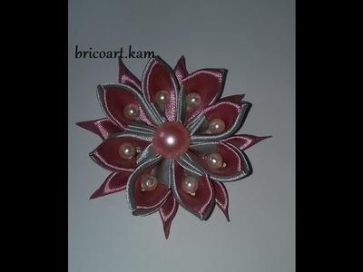 DIY.MK.Tutorial.Kanzashi flower grey&pink: bricoart.kam
