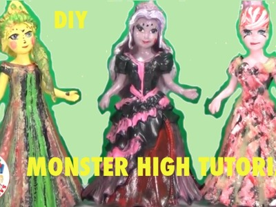 DIY MONSTER HIGH Inspired Disney Princess Magiclip dresses Tutorial Elsa Cinderella Rapunzel