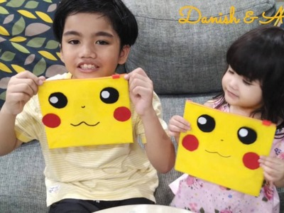 EASY PIKACHU Pencil Case Craft HOW TO   Back to School for Kids Easy Crafts   Kids Fun Play