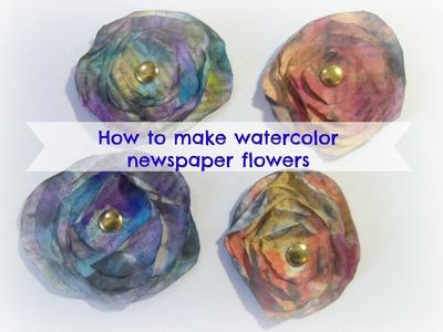 How to make newspaper flowers. DIY Mixed media Watercolor newspaper flowers