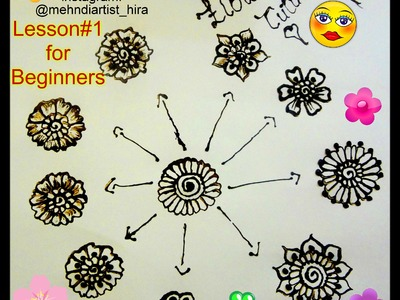 Lesson#1: DIY Henna Mehndi design Tutorial for Beginners(how to make flowers)