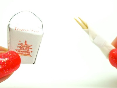 Miniature dollhouse Chinese Take Out Box with Chopsticks l food l Dollhouse DIY ♥