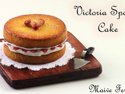 Miniature Polymer Clay Classic Victoria Sponge Cake Tutorial