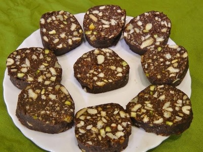No Bake Chocolate Biscuit Cake. Chocolate Salami by madhurasrecipe