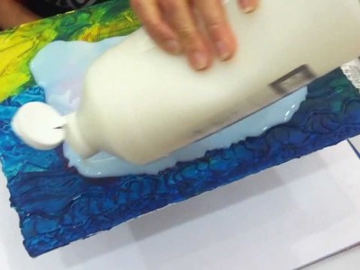 Pouring Medium Over Textured Surfaces to Create Resin-like Clear Coat