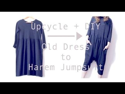 Sewing + Refashion DIY Old Dress to Harem Jumpsuit