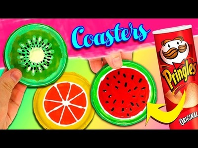 COASTERS DIY * DIY Fruit Coasters with PRINGLES CANS
