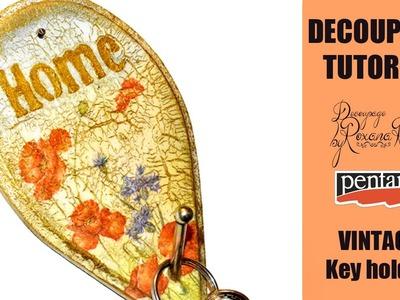 DECOUPAGE TUTORIAL - DIY Vintage Key Holder - Pentart Random Crackle Varnish