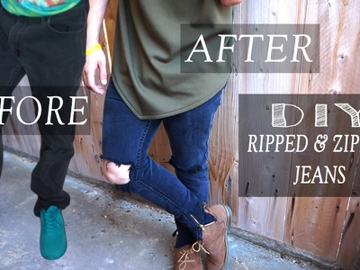 DIY: Baggy Levi Jeans to Ripped & Zippered Jeans | KAD transformation #15