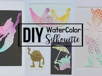 DIY: EASY Disney Ombre Watercolor Silhouette Wall Decor for Dorm!