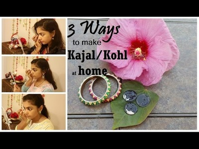 DIY Home made Kajal in 3 ways|Tips to make Kajal smudge free