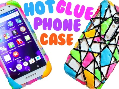 DIY HOT GLUE PHONE CASE | Neon Geometric Design