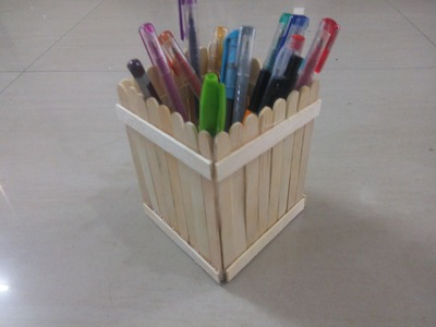 DIY: How to make pen stand using Popsicle sticks. ice cream sticks