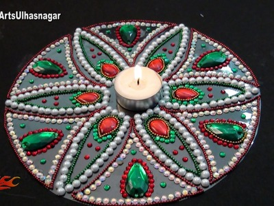 DIY Kundan. Rhinestone Rangoli | How to make | JK Arts 1011